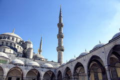 Bottom view of Blue Sultanahmet Mosque Royalty Free Stock Image