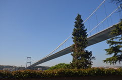 Bottom view of the Bosphorus bridge Royalty Free Stock Image
