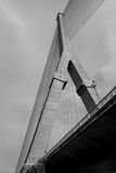 A bottom view of bridge. A bottom view of Rama VIII bridge in bangkok, thailand, black and white tone Stock Photos