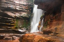 Bottom View of Cachoeira do Mosquito in Chapada dos Dimantina. Stunning View of Bottom of Waterfall Cachoeira do Mosquito Located in the Interior of Brazil near Stock Images