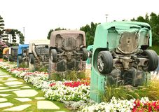 Bottom view of cars in miracle garden Royalty Free Stock Images