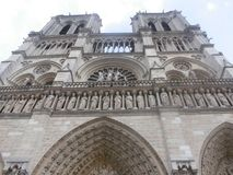 Bottom view of the cathedral of notre dame stock photography