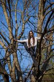 Bottom view charming cute slim girl is on top of unusual tree without leaves on background sky royalty free stock images