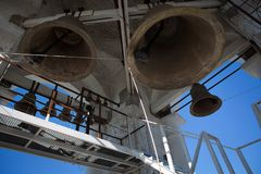 Bottom view of the Church bells. Close-up view of metal orthodox church bells stock image