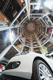 Bottom view in construction for storage cars Stock Images