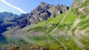 Bottom view of Czarny Staw Gasienicowy in summer, Tatra Mountains stock footage