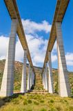 Bottom view of a double motorway viaduct. In northern Sicily stock photo
