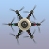 Bottom view of a drone with surveillance camera. Stock Images