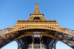 Bottom view of Eiffel Tower Stock Photo