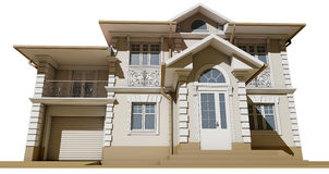 Bottom view of the facade. Cottage in a classic style Royalty Free Stock Images
