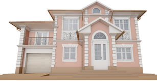Bottom view of the facade. Cottage in a classic style Stock Photography