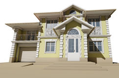 Bottom view of the facade. Cottage in a classic style Royalty Free Stock Image