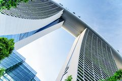 Bottom view of the famous Marina Bay Sands Hotel, Singapore stock images
