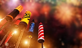 Bottom view of fireworks rockets launching into the sky. Free space for text. Concept of celebration and New Years Eve. 3D render of rockets Royalty Free Stock Photography