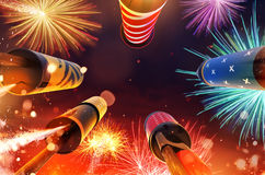 Bottom view of fireworks rockets launching into the sky. Free space for text. Concept of celebration and New Years Eve. 3D render of rockets Stock Photos