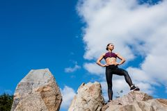 bottom view of fit woman royalty free stock photography