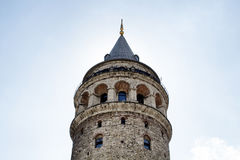 Bottom view of Galata tower Royalty Free Stock Photos