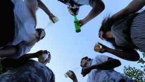 Bottom view: Group of friends clink with beer bottles and drink against the sky on summer party. In slow motion stock video footage