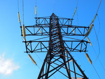 Bottom view of the high-voltage metal tower Stock Photos