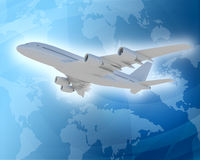 Bottom view of jet with world map Royalty Free Stock Photo