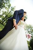 Bottom view. kiss of the bride and groom. Stock Image