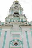 Bottom view of the main entrance on the upper part of the bell tower of the Trinity-Sergius Lavra Stock Photos