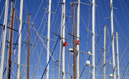 Bottom view of masts of yachts and sail boats Stock Photo
