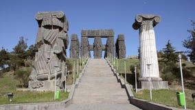 Bottom view on Memorial History of Georgia in Tbilisi, Tsereteli stock video footage