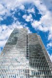 Bottom view of 155 meter high Deutsche Bank Twin Towers Royalty Free Stock Photos