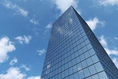 Business skyscraper under blue sky with clouds. Bottom view of modern business skyscraper in day sunlight under blue sky with clouds raising to the sky, business Royalty Free Stock Photography