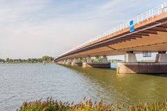 Bottom view of the Moerdijk traffic bridge over the Hollandsch D. Iep river and part of the A16 motorway. The bridge was built in 1978 and it is the longest royalty free stock photo