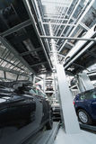 Bottom view in multi-story automated car parking system Stock Photos