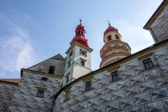 Bottom view of Nachod castle in Czech Republic stock photography