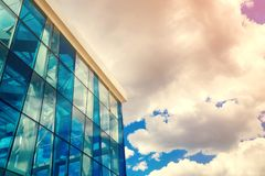 Free Bottom View Of Modern Glass Blue Business Centre Architecture. Royalty Free Stock Photos - 123200458