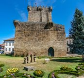 Old tower and castle in Chaves, Portugal stock image
