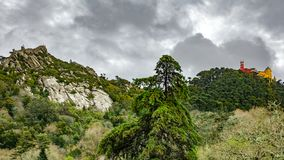 Palace da Pena and Castle of moros over hill. Sintra, Lisbon. Portugal Royalty Free Stock Photos