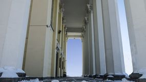 Bottom view of the passage between the columns stock images