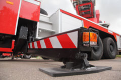 Bottom view of at pull-out support of fire engine Stock Images