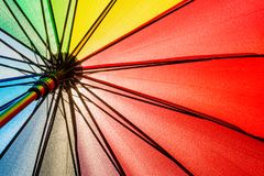 Bottom view of Rainbow umbrella texture background. A beautiful Bottom view of Rainbow umbrella texture background stock photo