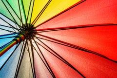 Bottom view of Rainbow umbrella texture background. Stock Photo