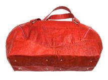 Bottom view of red travelling bag isolated. On white background Royalty Free Stock Photos