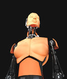 Bottom view of robotic woman Stock Images