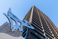 Bottom view of sculpture and skyscraper, Atlanta, USA Stock Image