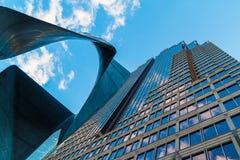 Bottom view of skyscraper and `Stealth` sculpture, Atlanta, USA Stock Photo