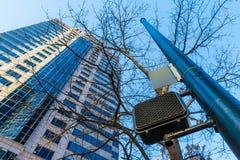 Bottom view of skyscraper and traffic light, Atlanta, USA Stock Images