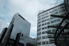 Bottom view of skyscrapers in Rotterdam Stock Images