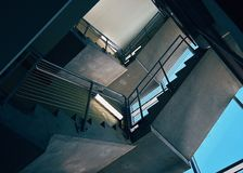 Bottom View of Stairs Inside Building Stock Photography
