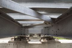 Bottom view of steel bridge structure of railways use for infras Royalty Free Stock Photography