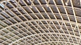 Steel modern ceiling. Bottom view of steel ceiling of large modern industrial building - video in slow motion stock footage