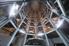 Bottom view of storage space for cars Royalty Free Stock Images